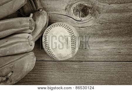 Vintage Baseball Equipment On Rustic Wood