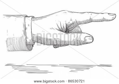 Human pointing hand