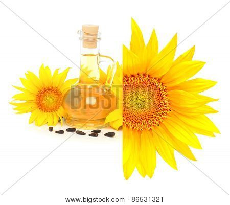 Carafe With Vegetable Oil And Sunflowers