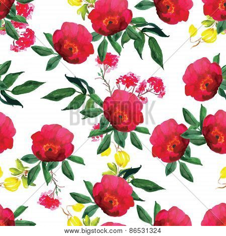 Watercolor Rose And Clematis Seamless Vector Pattern