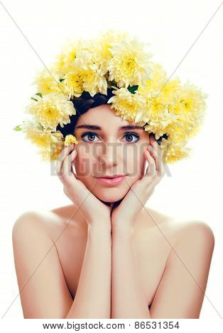 Caucasian Woman With Yellow Flowers Wreath Around Her Head
