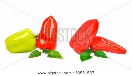 Fresh Red And Green Bell Peppers