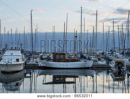 Boat In Marina On Sunset