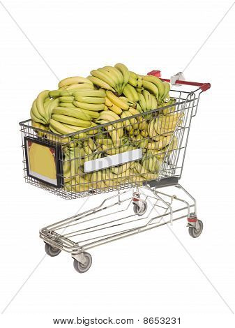 Shopping cart filled with bananas