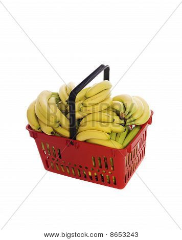 Shoppingbasket filled with bananas