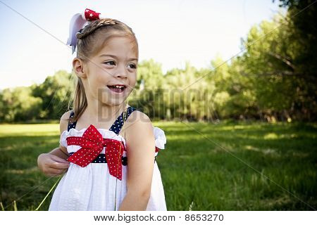 Happy little child outdoors