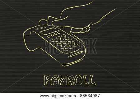 Shopping And Credit Card Payments, Cashier Illustration