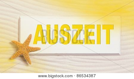 Traveling summer concept with the german word for time out in yellow color.