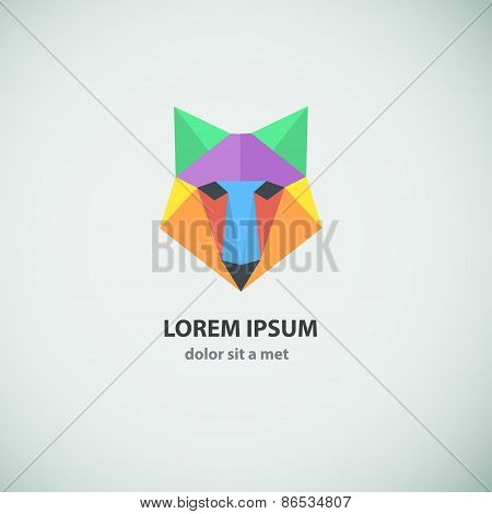Abstract polygonal wolf logo design.