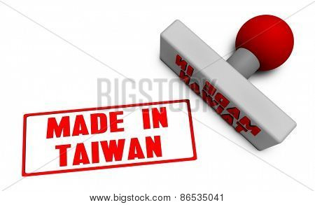 Made in Taiwan Stamp or Chop on Paper Concept in 3d