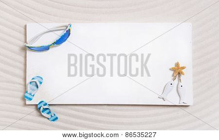Maritime summer background in white and blue for holidays on the beach.