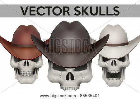 Set of Human skulls with cowboy hat