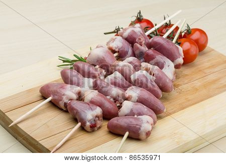 Raw Chicken Hearts For Barbecue
