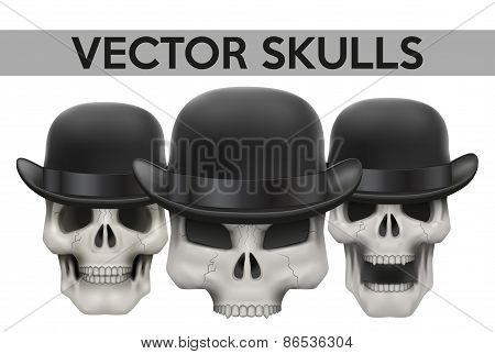 Set of Human skulls with bowler hat