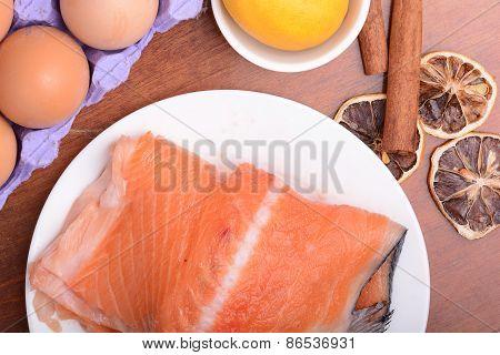 Salmon Filet With Old Lemons And Cinnamon