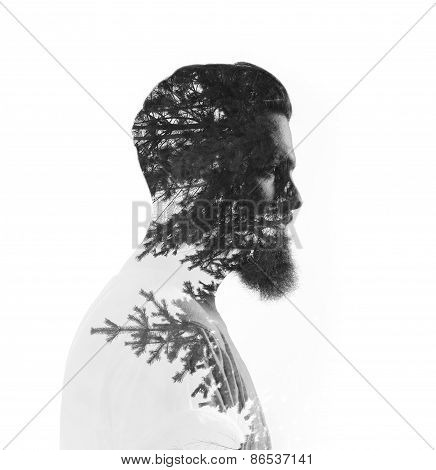 Double Exposure Of Bearded Man And Pine Trees