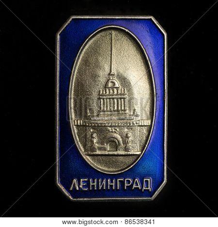 Illustrative editorial photo Soviet badge with the inscription Leningrad
