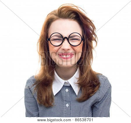 Funny Geek Or Loony Girl Showing Gritted Teeth, Isolated On White Background. Portrait Of A Girl Loo