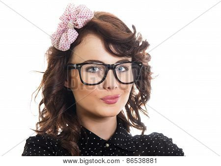 Portrait Of A Happy Girl Isolated On White. Smile Young Woman Wearing Eyeglasses