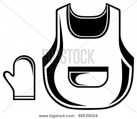Barbecue set, apron and glove