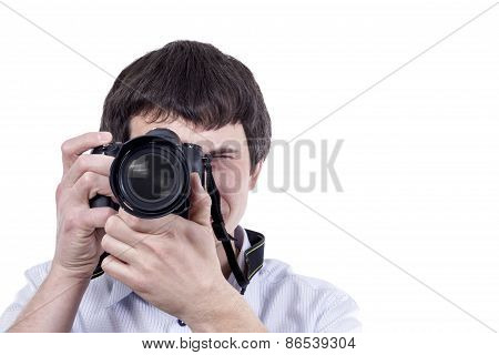 Man using a professional camera