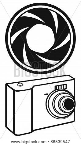 Digital photo camera and camera shutter