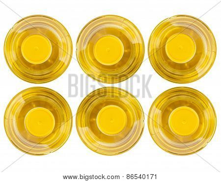 Six Bottle Of Vegetable Oil, Top View