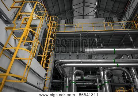 Ladder in industrial interior