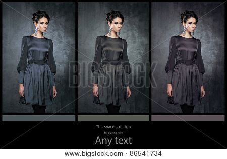 Young, beautiful and graceful woman in a retro styled fashion dress. Different  versions. Shades of grey  concept.