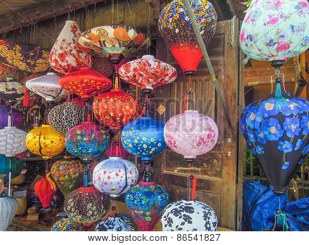 Colorful Chinese lanterns for sale at a shop in Vietnam