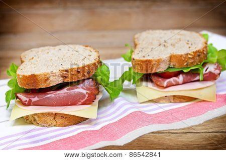 Tasty, delicious sandwiches with prosciutto