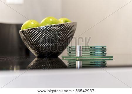 Detail Of Modern Kitchen Metal Bowl