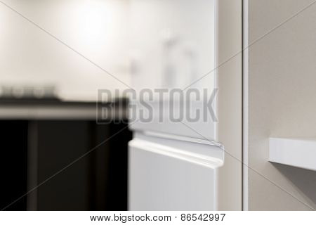 Detail Of White Kitchen Cupboard