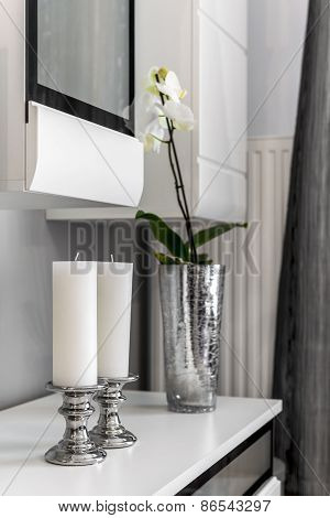 Interior Decoration Detail Of White Candles