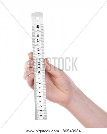 Female hand with metal ruler isolated on white