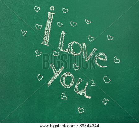 I Love You written on blackboard