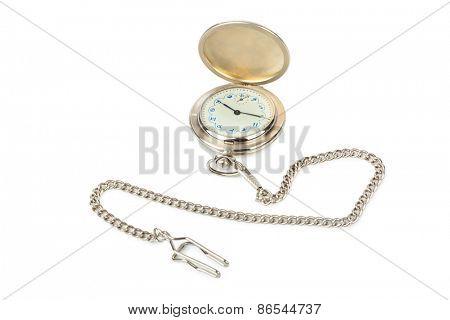 Retro watch with horoscope isolated on white background
