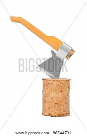Log fire wood and axe isolated on a white background