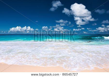 Beautiful beach at Seychelles, La Digue