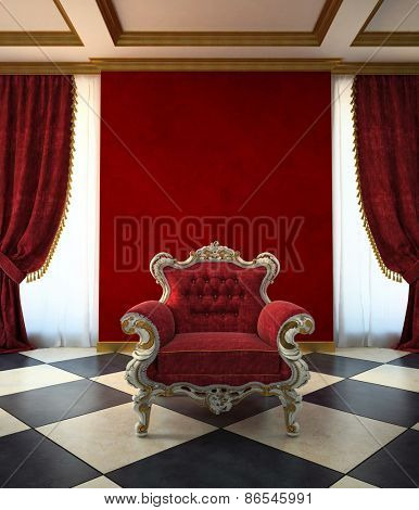 Red armchair room in classic style 3d