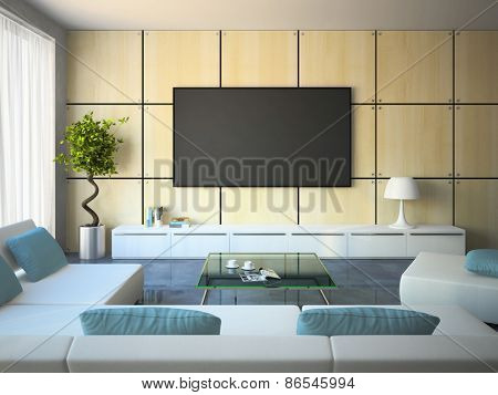 Modern interior with white sofas and blue pillows 3D