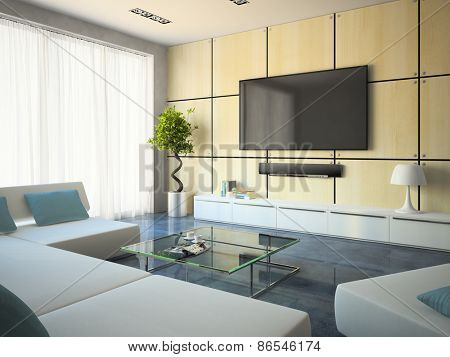Modern interior with white sofas and lamp 3D