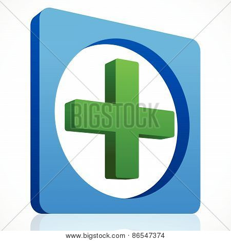 3D Cross Icon In Green And Blue. First Aid, Healthcare.