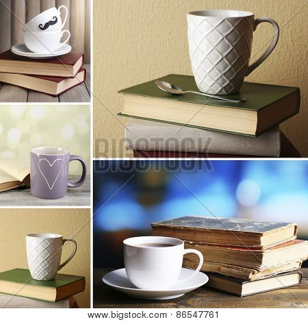 Books and cups compositions in collage, Reading concept