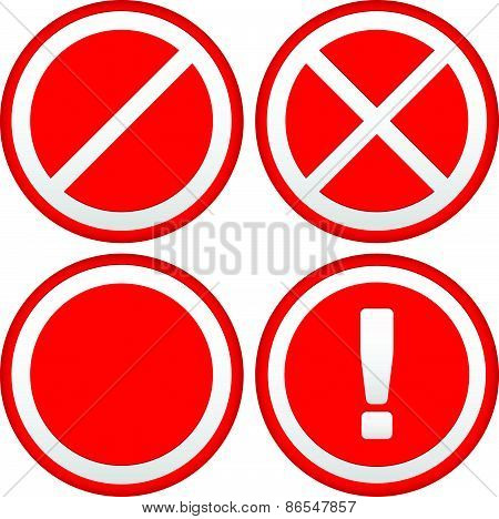 Set Of Different Prohibition / Warning Signs, Road Signs. European No Parking, No Entry Signs And Si