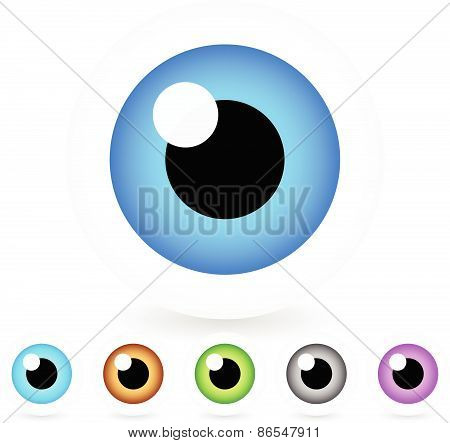 Cartoon Eyes In 6 Colors, Vector Illustration