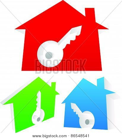 3D Houses With Keyhole. Real Estate, Home Security, Lock, New House Concepts.