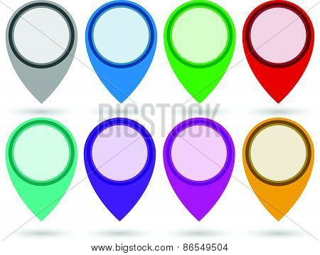 Map Marker, Location Marker, Map Pin Set In 8 Colors. Eps 10.