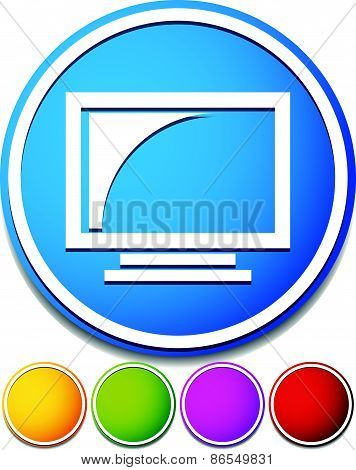 Monitor Icon. Screen, Display Of A Computer Monitor Or Television, Tv