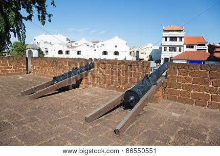 The Port of Malacca and the Malacca River. Stone Fortifications Along the Sungei Melaka, Malaysia.